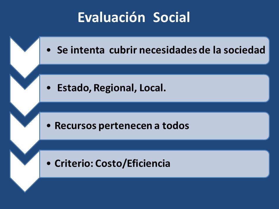 Se intenta cubrir necesidades de la sociedad Estado, Regional, Local. Recursos pertenecen a todosCriterio: Costo/Eficiencia Evaluación Social