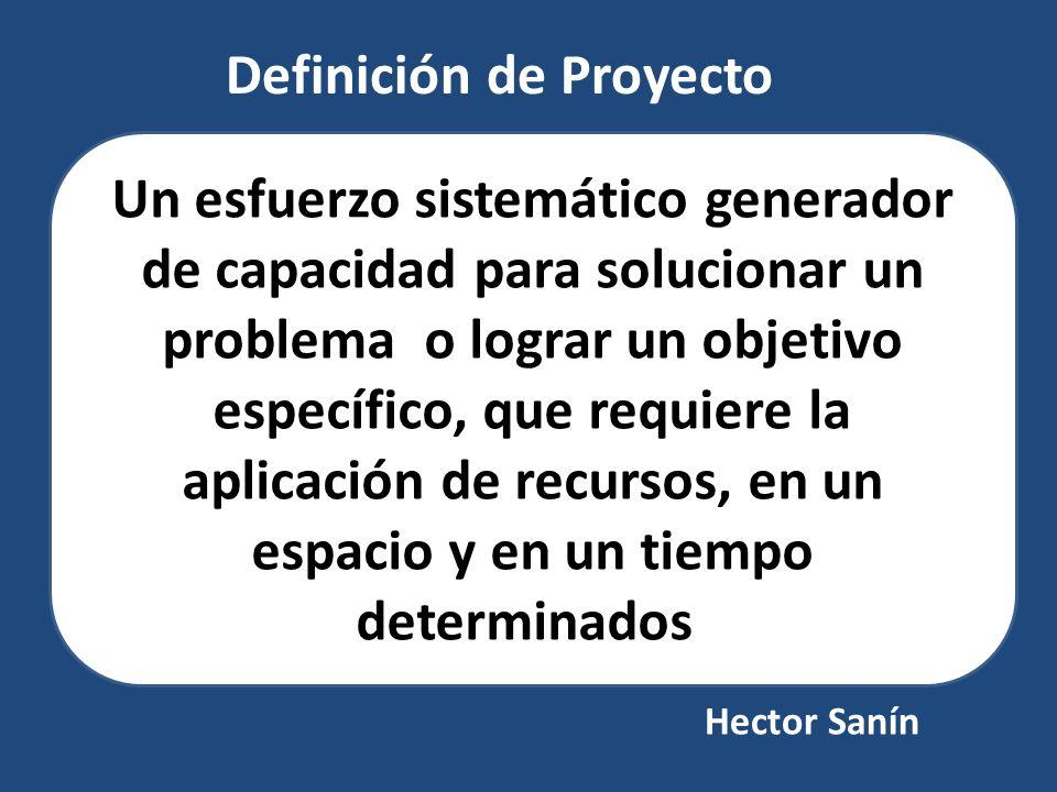 Definición de Proyecto Un esfuerzo sistemático generador de capacidad para solucionar un problema o lograr un objetivo específico, que requiere la apl