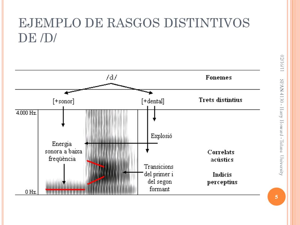 EJEMPLO DE RASGOS DISTINTIVOS DE /D/ 02/16/11 5 SPAN 4130 - Harry Howard - Tulane University