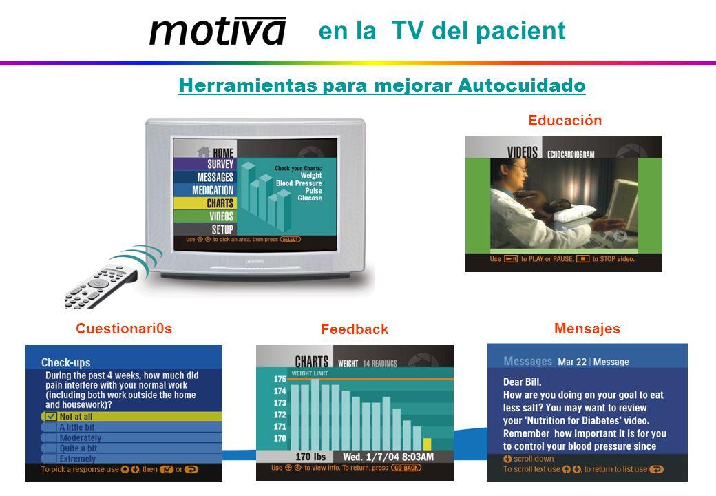 en la TV del pacient Educación Feedback Cuestionari0s Mensajes Herramientas para mejorar Autocuidado