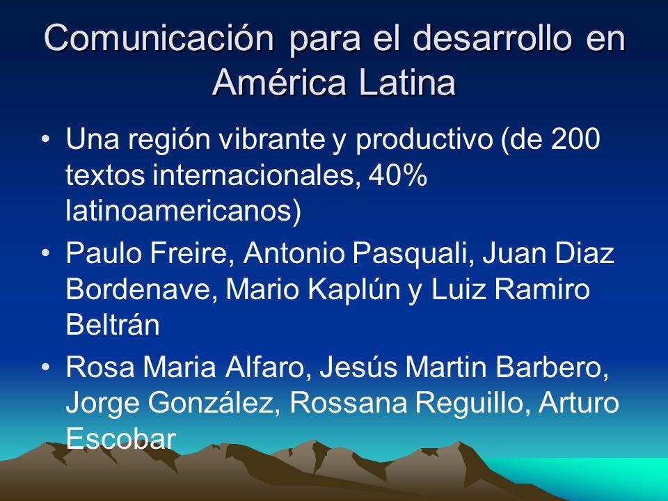 Comunicación para el desarrollo en América Latina Una región vibrante y productivo (de 200 textos internacionales, 40% latinoamericanos) Paulo Freire,