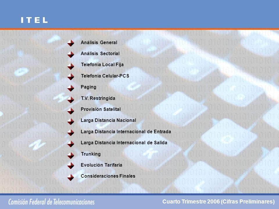 Análisis General Análisis Sectorial Telefonía Local Fija Telefonía Celular-PCS Paging T.V.
