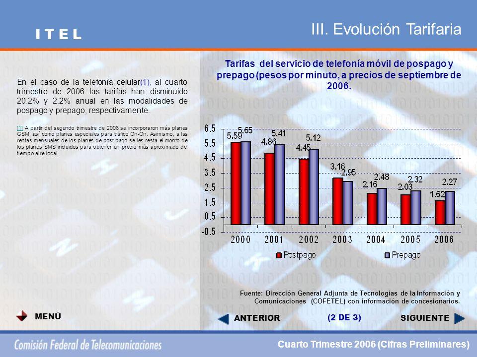 III. Evolución Tarifaria SIGUIENTE Tarifas del servicio de telefonía móvil de pospago y prepago (pesos por minuto, a precios de septiembre de 2006. Fu