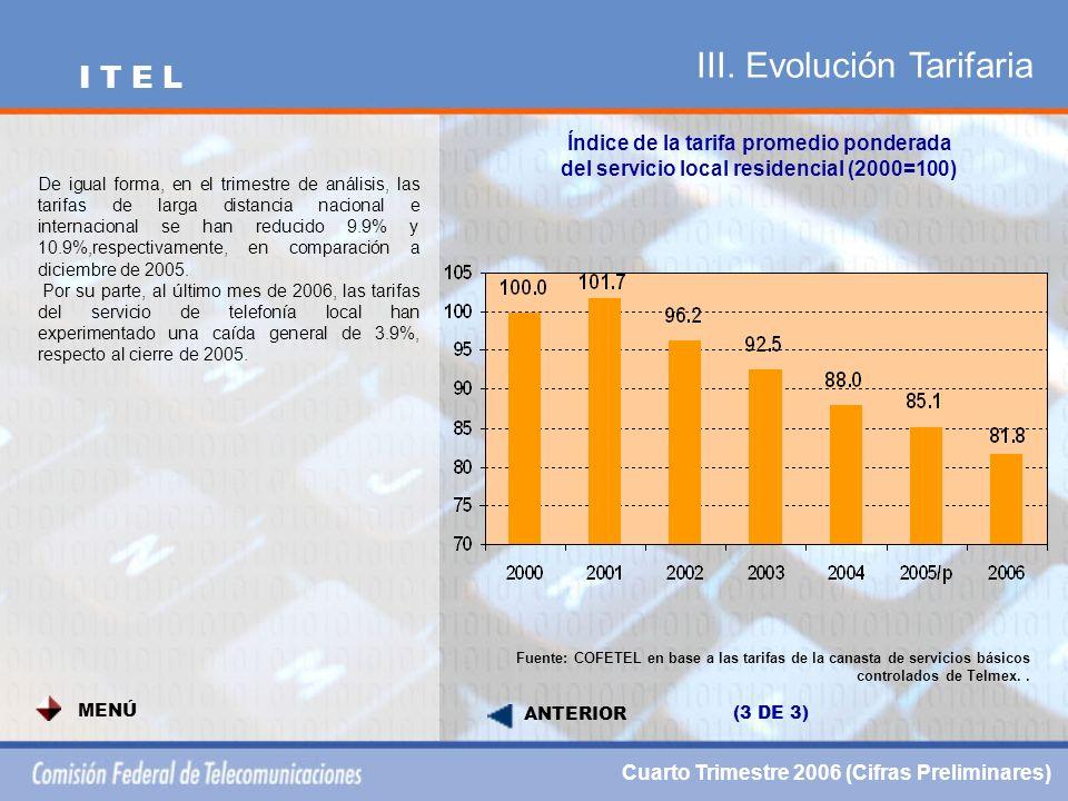 III. Evolución Tarifaria Índice de la tarifa promedio ponderada del servicio local residencial (2000=100) Fuente: COFETEL en base a las tarifas de la