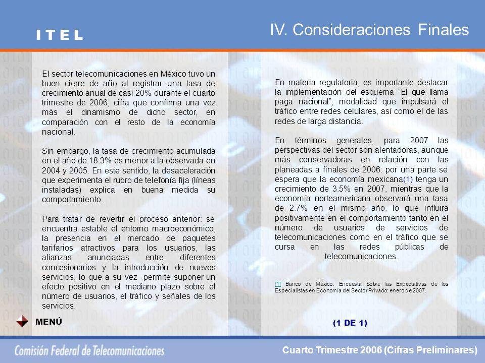 IV. Consideraciones Finales Cuarto Trimestre 2006 (Cifras Preliminares) I T E L MENÚ El sector telecomunicaciones en México tuvo un buen cierre de año