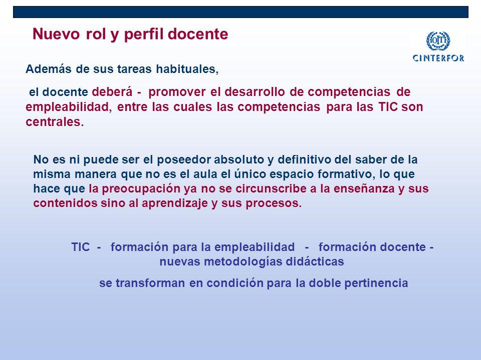 Nuevo rol y perfil docente Además de sus tareas habituales, el docente deberá - promover el desarrollo de competencias de empleabilidad, entre las cuales las competencias para las TIC son centrales.