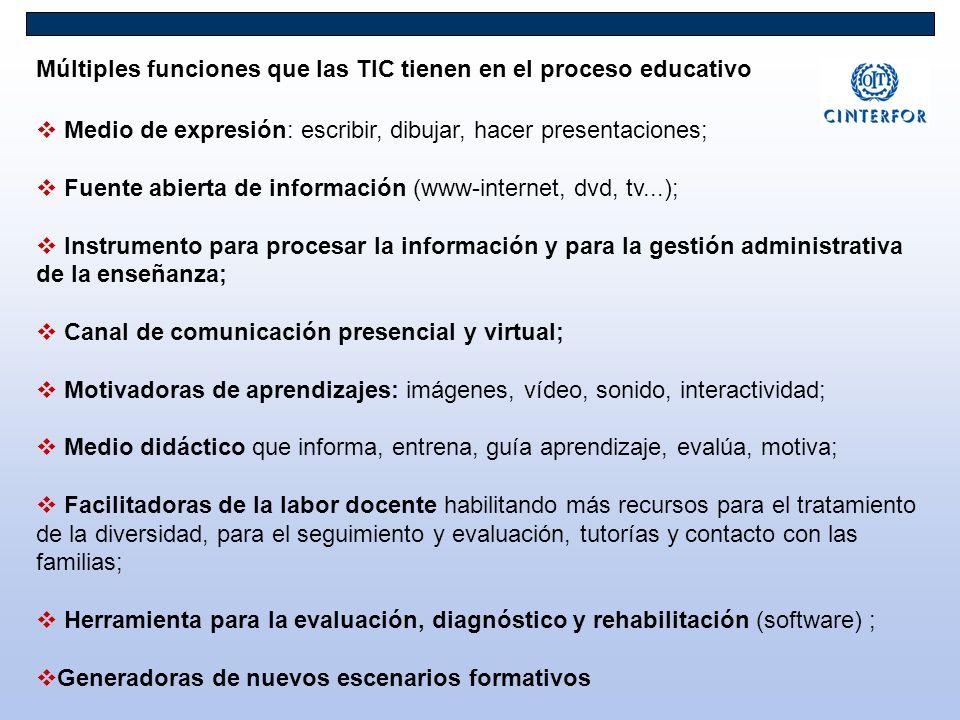 Medio de expresión: escribir, dibujar, hacer presentaciones; Fuente abierta de información (www-internet, dvd, tv...); Instrumento para procesar la in