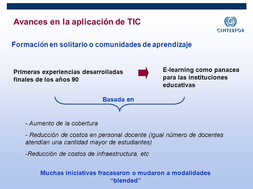 Avances en la aplicación de TIC Formación en solitario o comunidades de aprendizaje Primeras experiencias desarrolladas finales de los años 90 E-learn