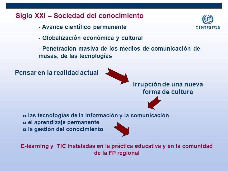 Siglo XXI – Sociedad del conocimiento - Avance científico permanente - Globalización económica y cultural - Penetración masiva de los medios de comuni