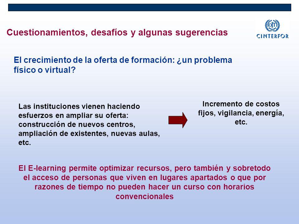 Cuestionamientos, desafíos y algunas sugerencias El crecimiento de la oferta de formación: ¿un problema físico o virtual? Las instituciones vienen hac