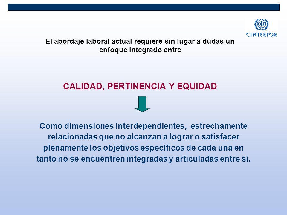 El abordaje laboral actual requiere sin lugar a dudas un enfoque integrado entre CALIDAD, PERTINENCIA Y EQUIDAD Como dimensiones interdependientes, es