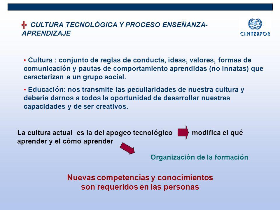 CULTURA TECNOLÓGICA Y PROCESO ENSEÑANZA- APRENDIZAJE Cultura : conjunto de reglas de conducta, ideas, valores, formas de comunicación y pautas de comp