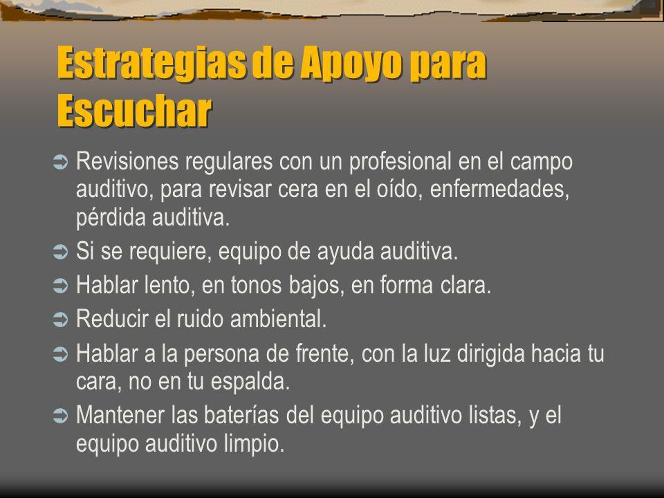 Estrategias de Apoyo para Escuchar Revisiones regulares con un profesional en el campo auditivo, para revisar cera en el oído, enfermedades, pérdida a