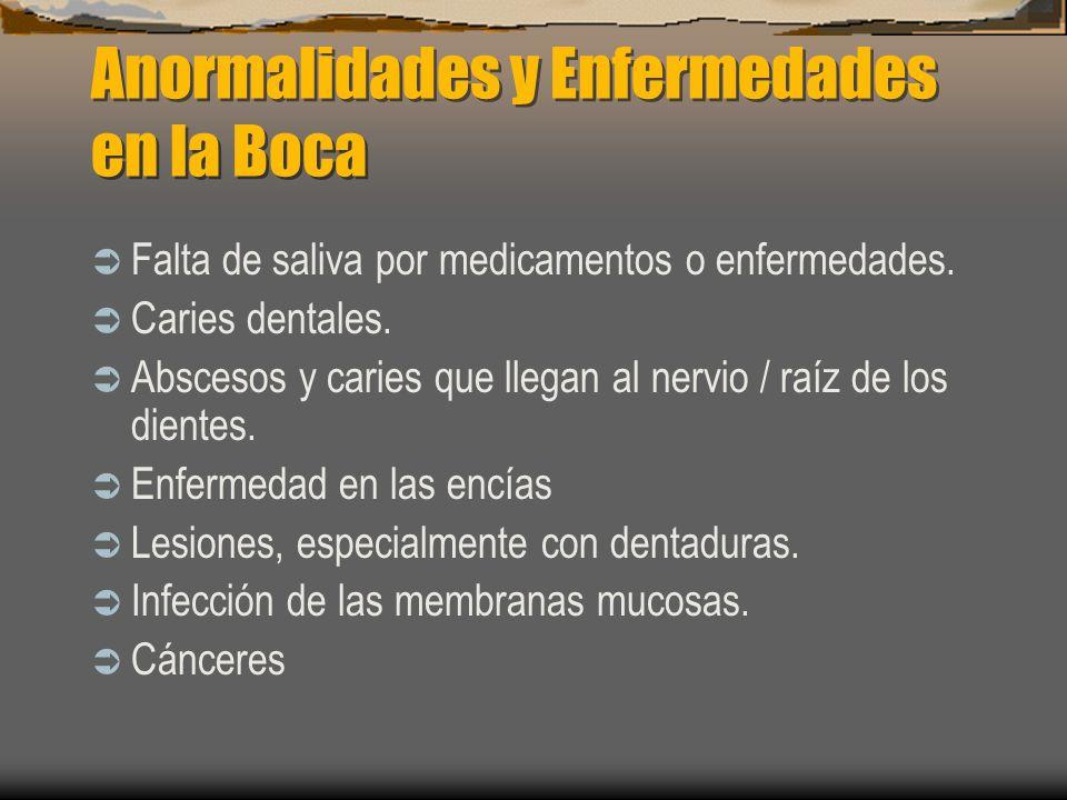 Anormalidades y Enfermedades en la Boca Falta de saliva por medicamentos o enfermedades. Caries dentales. Abscesos y caries que llegan al nervio / raí