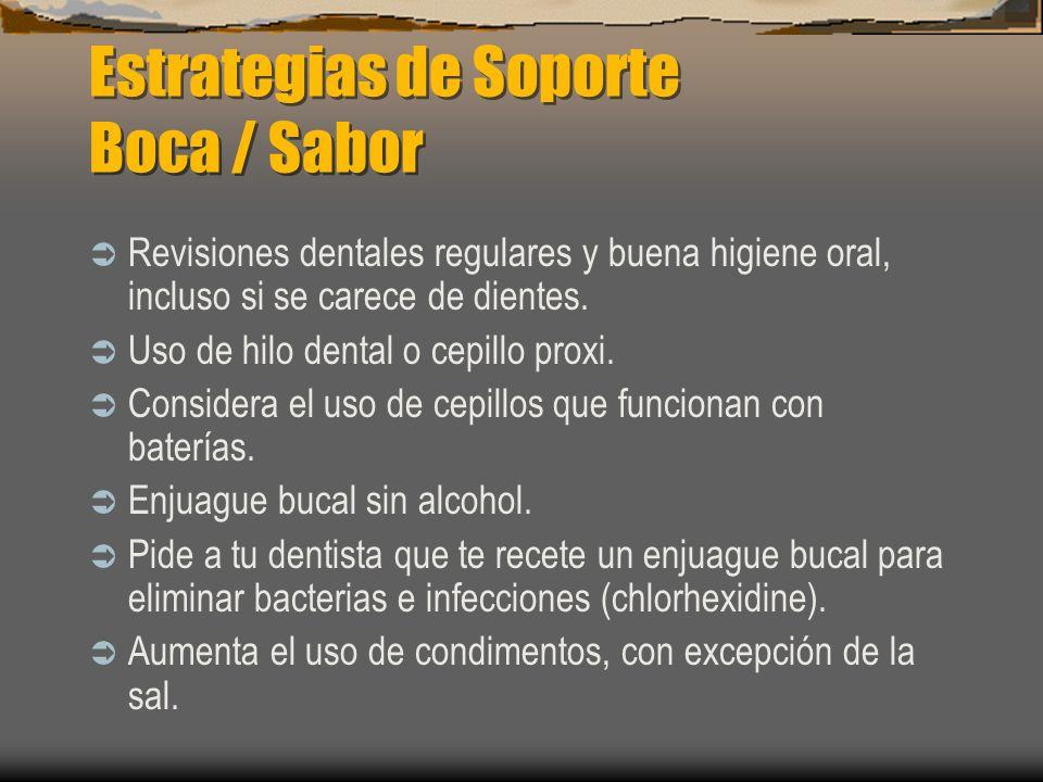 Estrategias de Soporte Boca / Sabor Revisiones dentales regulares y buena higiene oral, incluso si se carece de dientes. Uso de hilo dental o cepillo