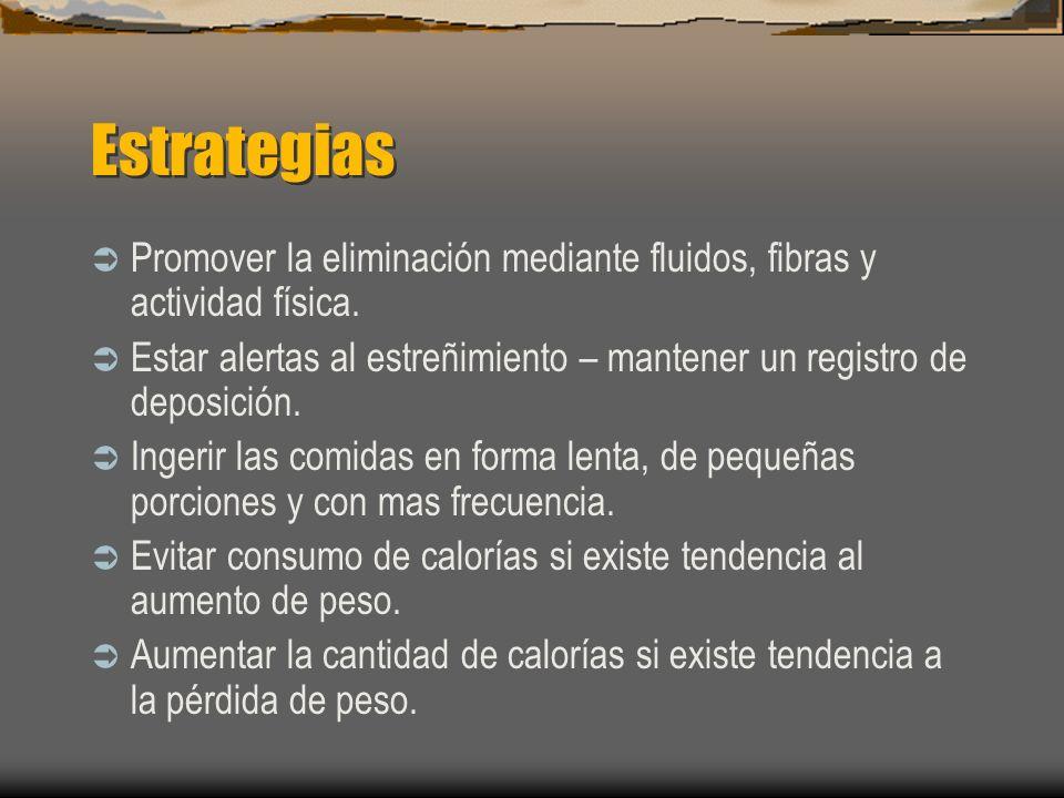 Estrategias Promover la eliminación mediante fluidos, fibras y actividad física. Estar alertas al estreñimiento – mantener un registro de deposición.