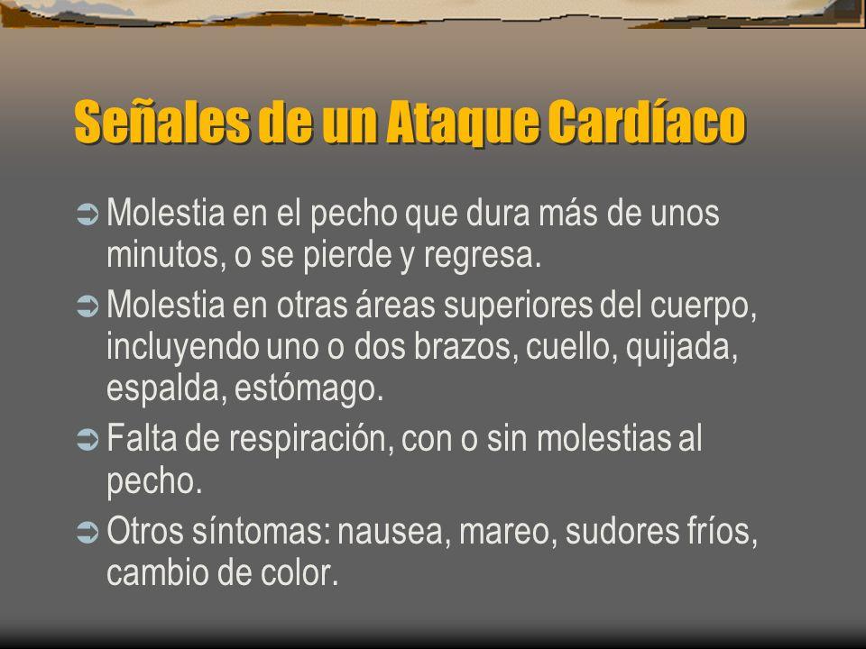 Señales de un Ataque Cardíaco Molestia en el pecho que dura más de unos minutos, o se pierde y regresa. Molestia en otras áreas superiores del cuerpo,