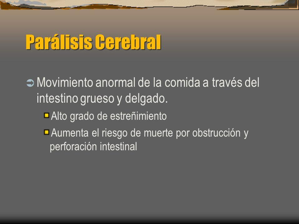 Parálisis Cerebral Movimiento anormal de la comida a través del intestino grueso y delgado. Alto grado de estreñimiento Aumenta el riesgo de muerte po