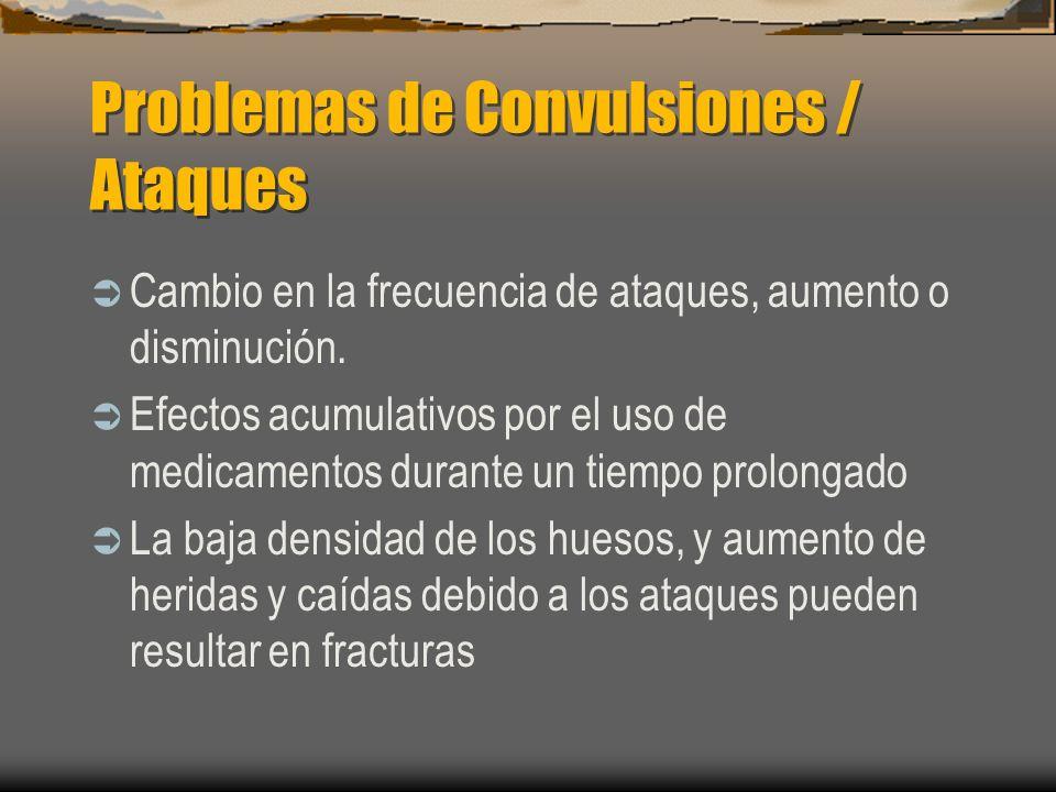 Problemas de Convulsiones / Ataques Cambio en la frecuencia de ataques, aumento o disminución. Efectos acumulativos por el uso de medicamentos durante