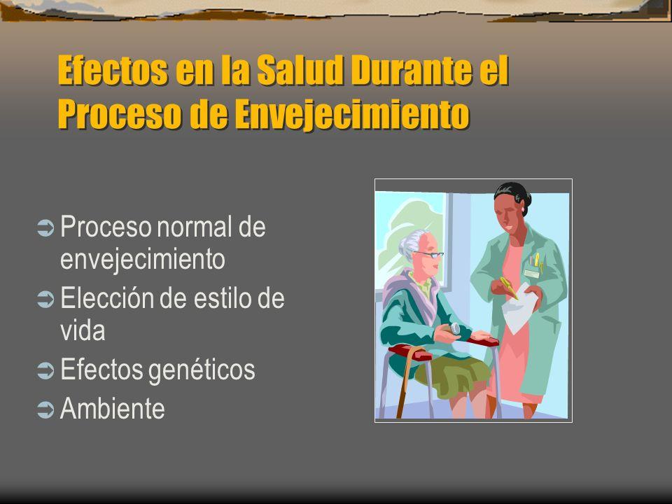 Efectos en la Salud Durante el Proceso de Envejecimiento Proceso normal de envejecimiento Elección de estilo de vida Efectos genéticos Ambiente