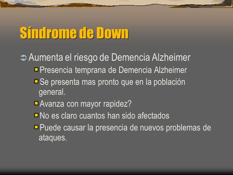 Síndrome de Down Aumenta el riesgo de Demencia Alzheimer Presencia temprana de Demencia Alzheimer Se presenta mas pronto que en la población general.