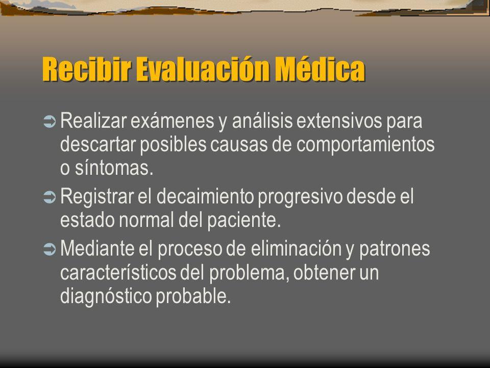 Recibir Evaluación Médica Realizar exámenes y análisis extensivos para descartar posibles causas de comportamientos o síntomas. Registrar el decaimien