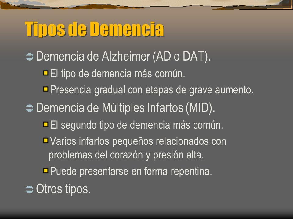 Tipos de Demencia Demencia de Alzheimer (AD o DAT). El tipo de demencia más común. Presencia gradual con etapas de grave aumento. Demencia de Múltiple