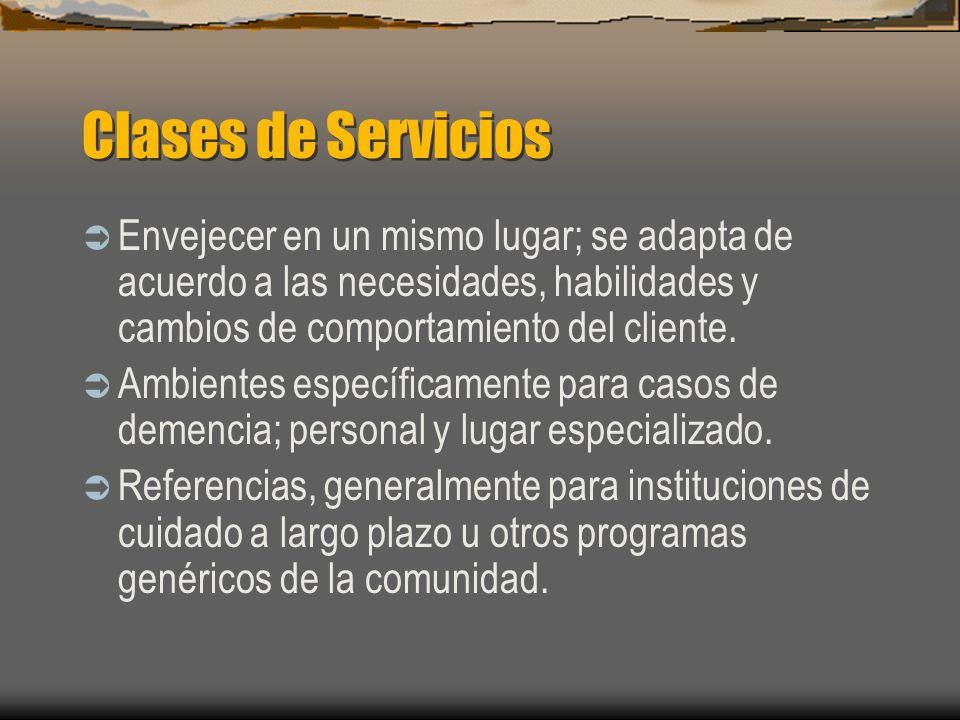 Clases de Servicios Envejecer en un mismo lugar; se adapta de acuerdo a las necesidades, habilidades y cambios de comportamiento del cliente. Ambiente