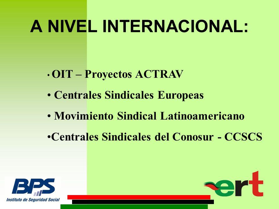 A NIVEL INTERNACIONAL: OIT – Proyectos ACTRAV Centrales Sindicales Europeas Movimiento Sindical Latinoamericano Centrales Sindicales del Conosur - CCSCS