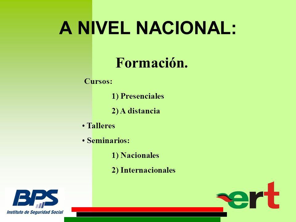 A NIVEL NACIONAL: Formación.