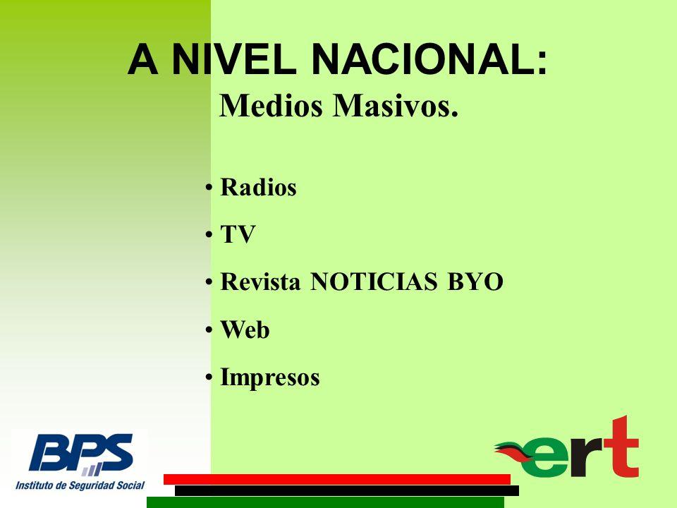 A NIVEL NACIONAL: Medios Masivos. Radios TV Revista NOTICIAS BYO Web Impresos