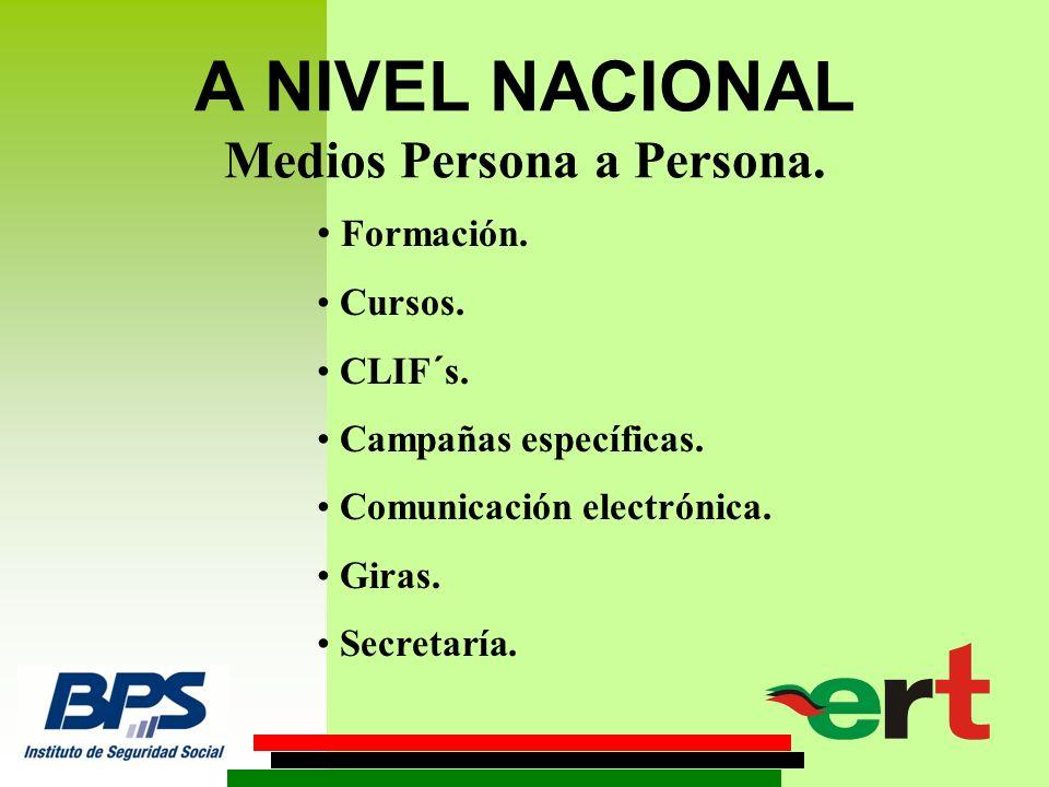 A NIVEL NACIONAL Medios Persona a Persona. Formación. Cursos. CLIF´s. Campañas específicas. Comunicación electrónica. Giras. Secretaría.