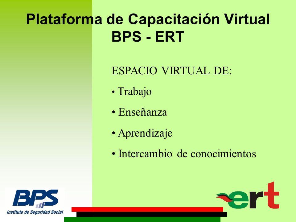 Plataforma de Capacitación Virtual BPS - ERT ESPACIO VIRTUAL DE: Trabajo Enseñanza Aprendizaje Intercambio de conocimientos