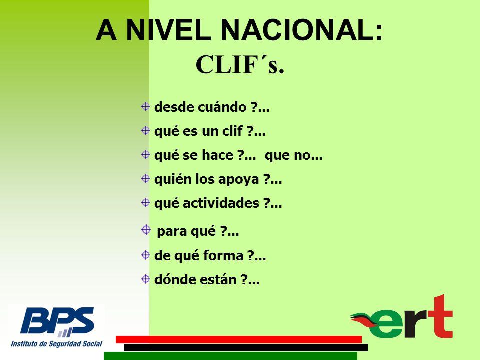 A NIVEL NACIONAL: CLIF´s. desde cuándo ... qué es un clif ...