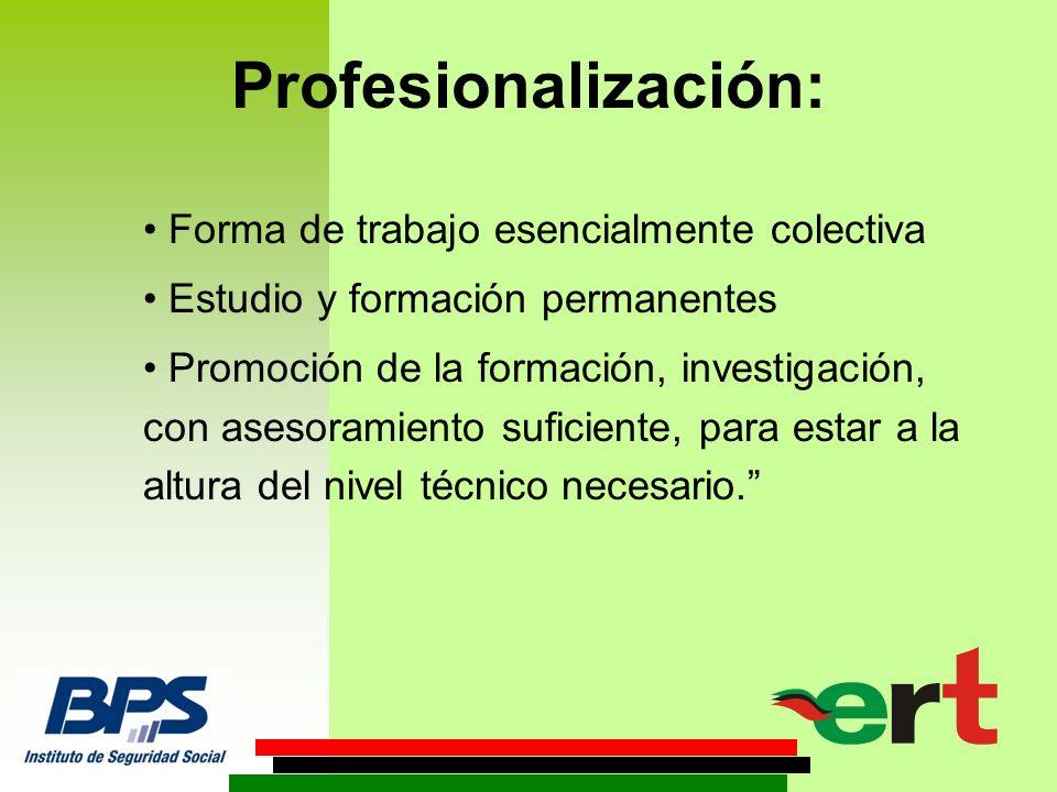 Profesionalización: Forma de trabajo esencialmente colectiva Estudio y formación permanentes Promoción de la formación, investigación, con asesoramiento suficiente, para estar a la altura del nivel técnico necesario.