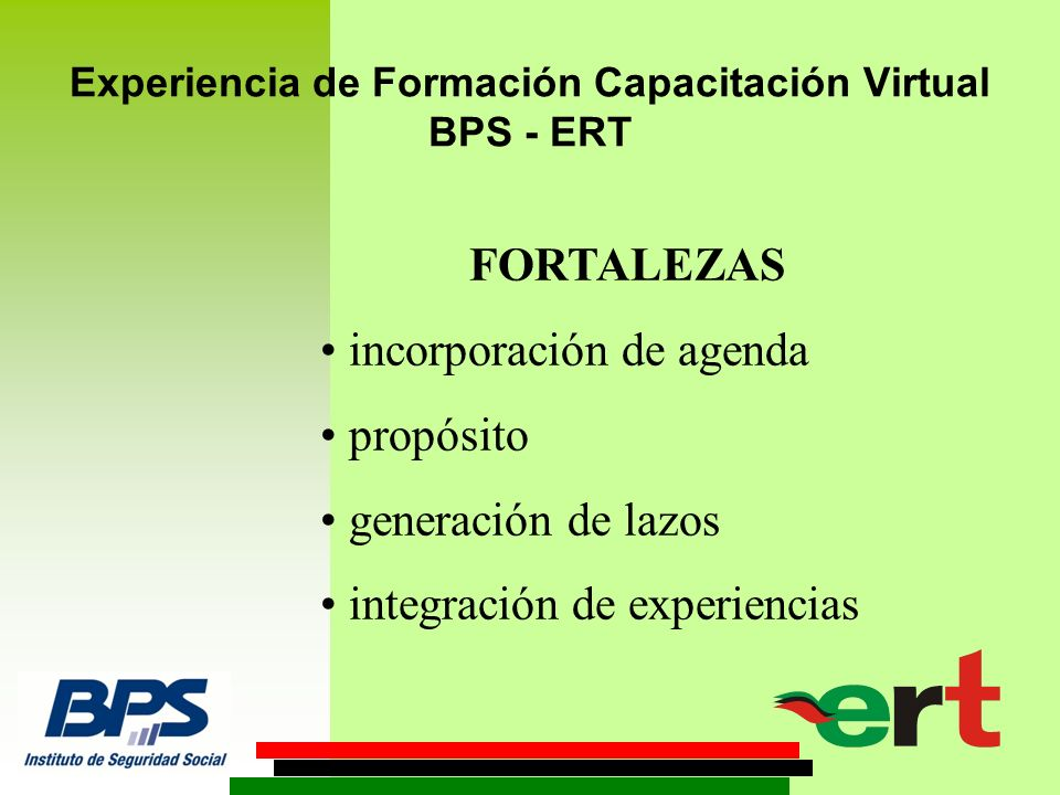 Experiencia de Formación Capacitación Virtual BPS - ERT DEBILIDADES.
