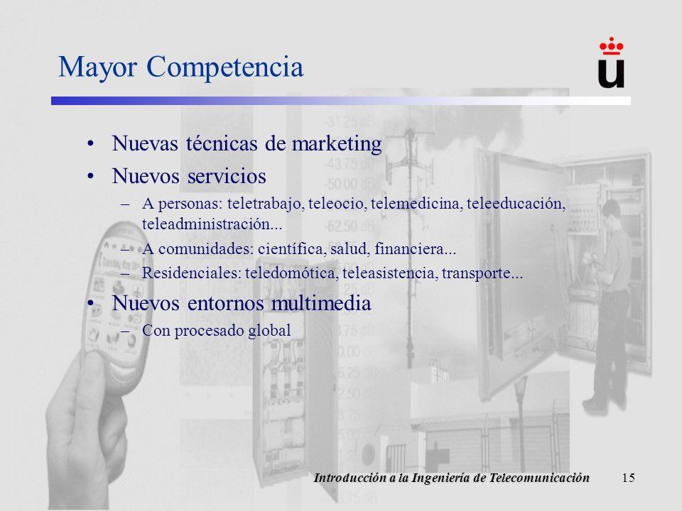 Introducción a la Ingeniería de Telecomunicación15 Mayor Competencia Nuevas técnicas de marketing Nuevos servicios –A personas: teletrabajo, teleocio, telemedicina, teleeducación, teleadministración...