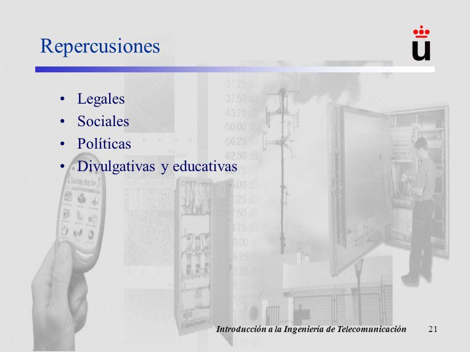 Introducción a la Ingeniería de Telecomunicación21 Repercusiones Legales Sociales Políticas Divulgativas y educativas