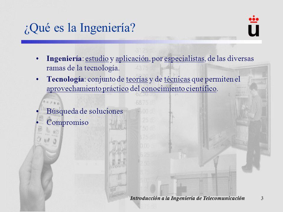 Introducción a la Ingeniería de Telecomunicación3 ¿Qué es la Ingeniería.