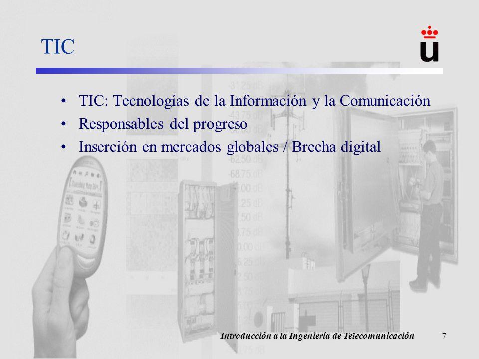 Introducción a la Ingeniería de Telecomunicación7 TIC TIC: Tecnologías de la Información y la Comunicación Responsables del progreso Inserción en mercados globales / Brecha digital