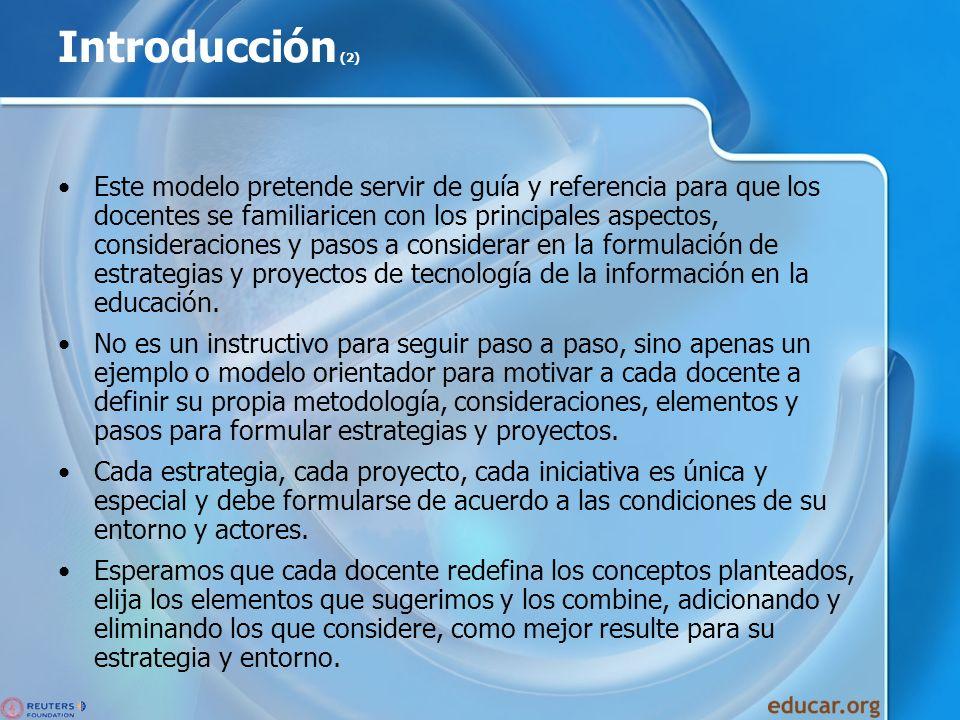 Introducción (2) Este modelo pretende servir de guía y referencia para que los docentes se familiaricen con los principales aspectos, consideraciones