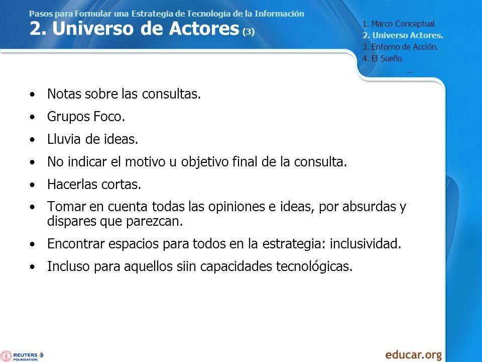 Pasos para Formular una Estrategia de Tecnología de la Información 2. Universo de Actores (3) Notas sobre las consultas. Grupos Foco. Lluvia de ideas.