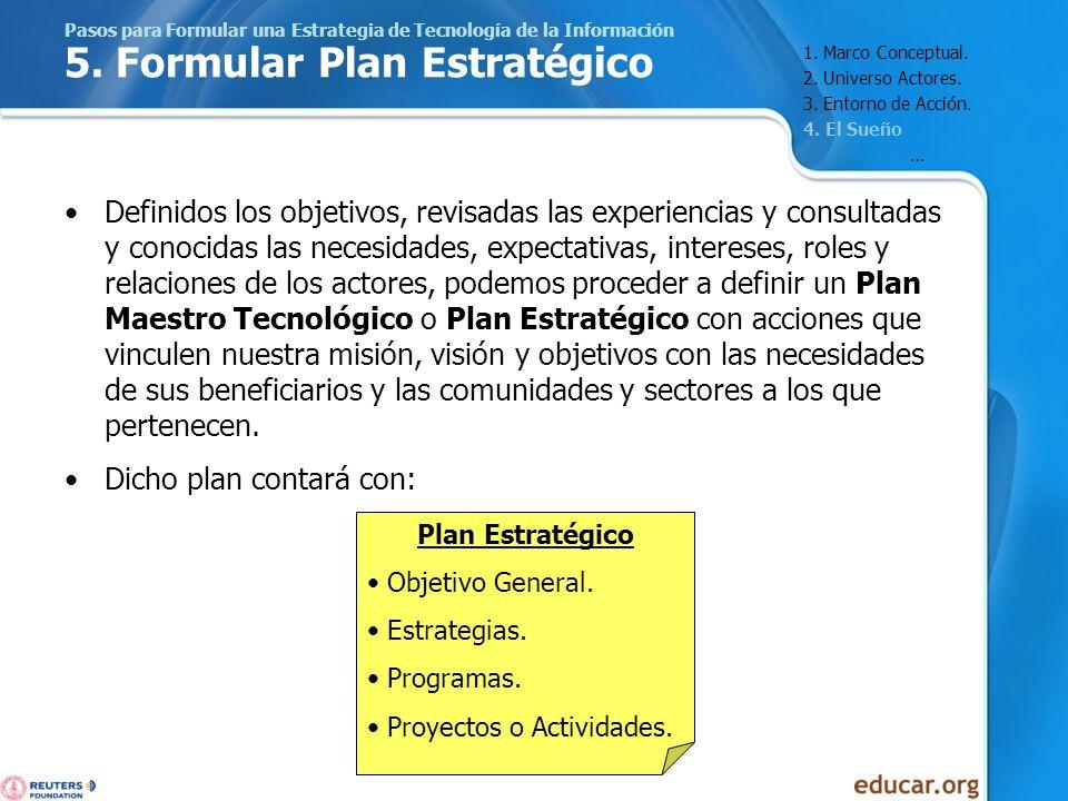 Pasos para Formular una Estrategia de Tecnología de la Información 5. Formular Plan Estratégico Definidos los objetivos, revisadas las experiencias y