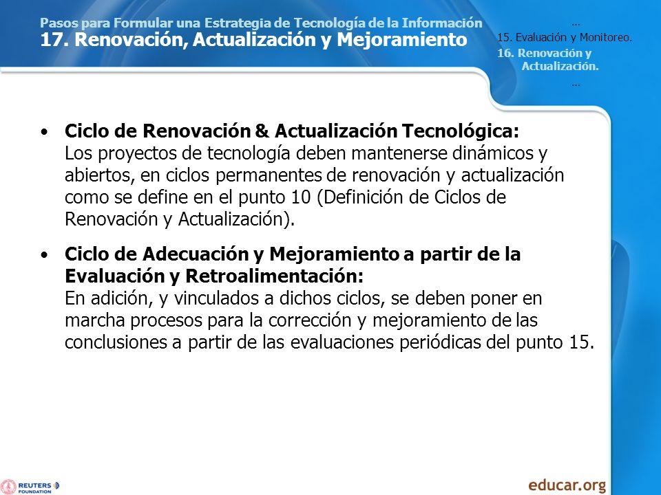 Pasos para Formular una Estrategia de Tecnología de la Información 17. Renovación, Actualización y Mejoramiento Ciclo de Renovación & Actualización Te