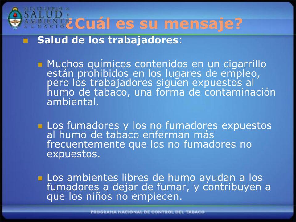 Salud de los trabajadores: Muchos químicos contenidos en un cigarrillo están prohibidos en los lugares de empleo, pero los trabajadores siguen expuest