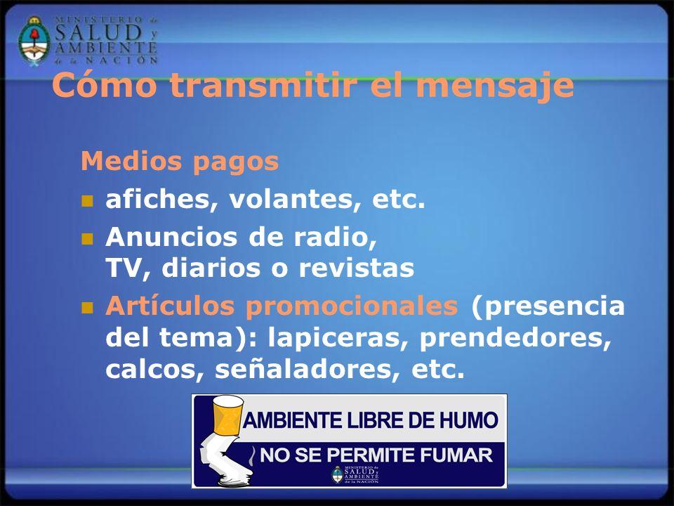 Cómo transmitir el mensaje Medios pagos afiches, volantes, etc. Anuncios de radio, TV, diarios o revistas Artículos promocionales (presencia del tema)