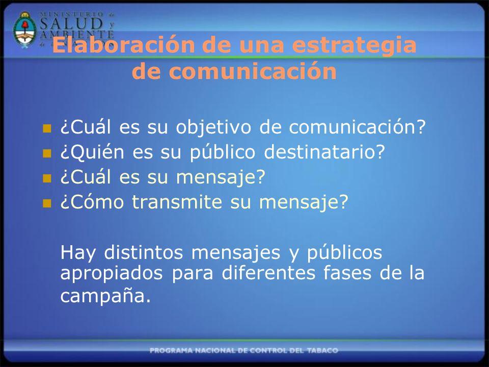 Elaboración de una estrategia de comunicación ¿Cuál es su objetivo de comunicación? ¿Quién es su público destinatario? ¿Cuál es su mensaje? ¿Cómo tran