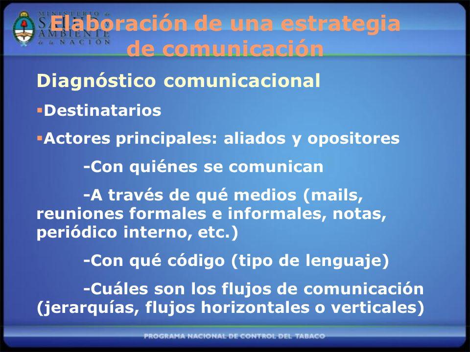 Diagnóstico comunicacional Destinatarios Actores principales: aliados y opositores -Con quiénes se comunican -A través de qué medios (mails, reuniones