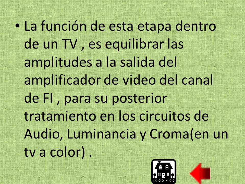 La función de esta etapa dentro de un TV, es equilibrar las amplitudes a la salida del amplificador de video del canal de FI, para su posterior tratamiento en los circuitos de Audio, Luminancia y Croma(en un tv a color).