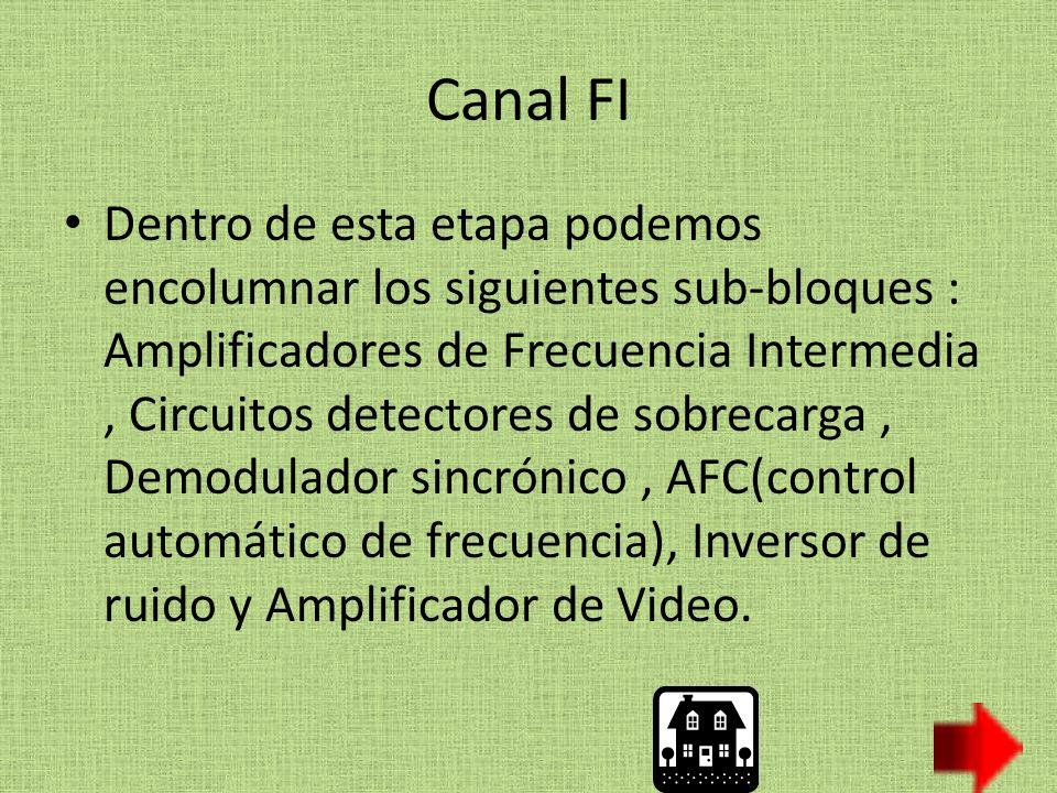 Canal FI Dentro de esta etapa podemos encolumnar los siguientes sub-bloques : Amplificadores de Frecuencia Intermedia, Circuitos detectores de sobrecarga, Demodulador sincrónico, AFC(control automático de frecuencia), Inversor de ruido y Amplificador de Video.